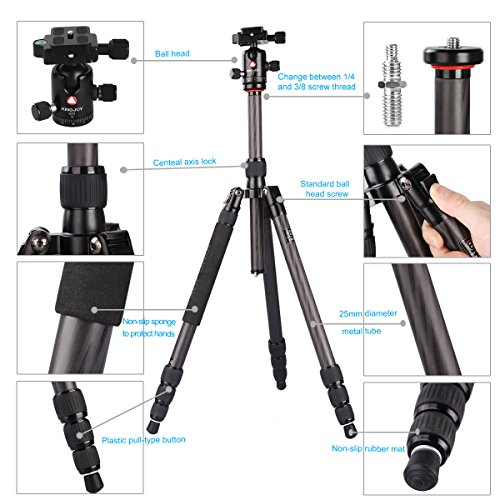 "60.2"" Tripod Monopod Carbon Fiber, pangshi K1208/Q10 Professional Travel Portable Tripod Monopod with 360 Degree Ball head with Carrying Bag for DSLR Camera Shooting Filming"